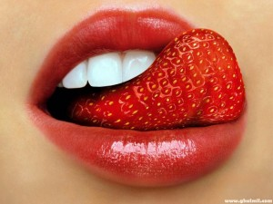 sexy mouth with strawberry tongue